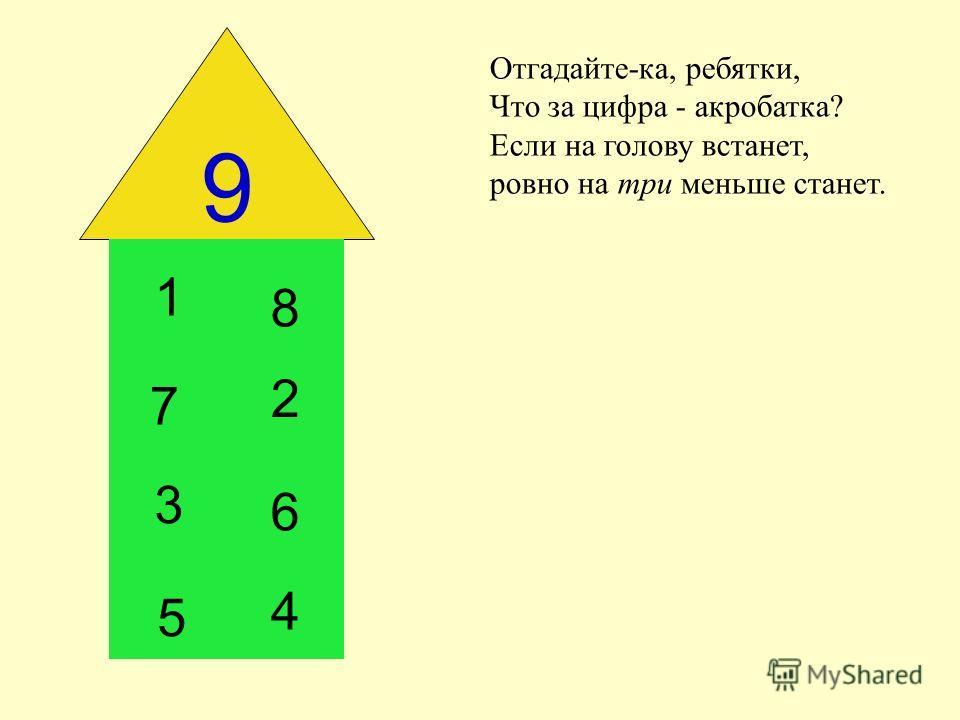 9 Отгадайте-ка, ребятки, Что за цифра - акробатка? Если на голову встанет, ровно на три меньше станет. 1 2 3 4 8 7 6 5