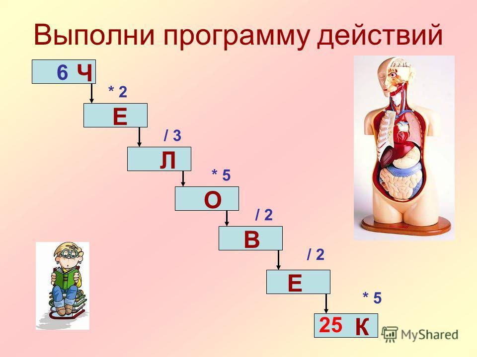 Выполни программу действий 6 * 2 / 3 * 5 / 2 * 5 25 Ч Е Л О В Е К