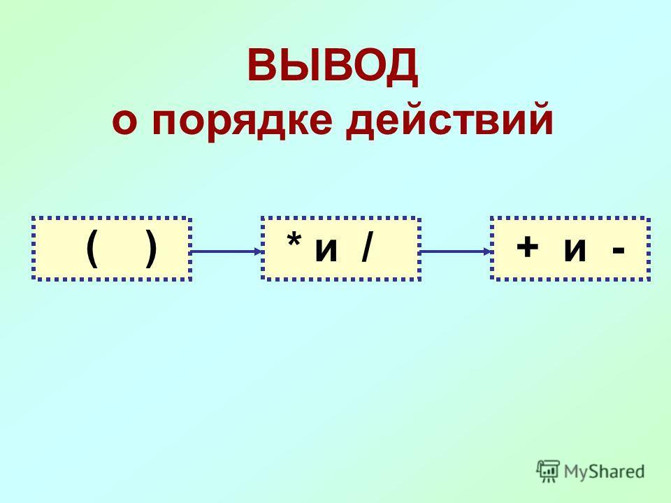ВЫВОД о порядке действий ( ) * и /+ и -
