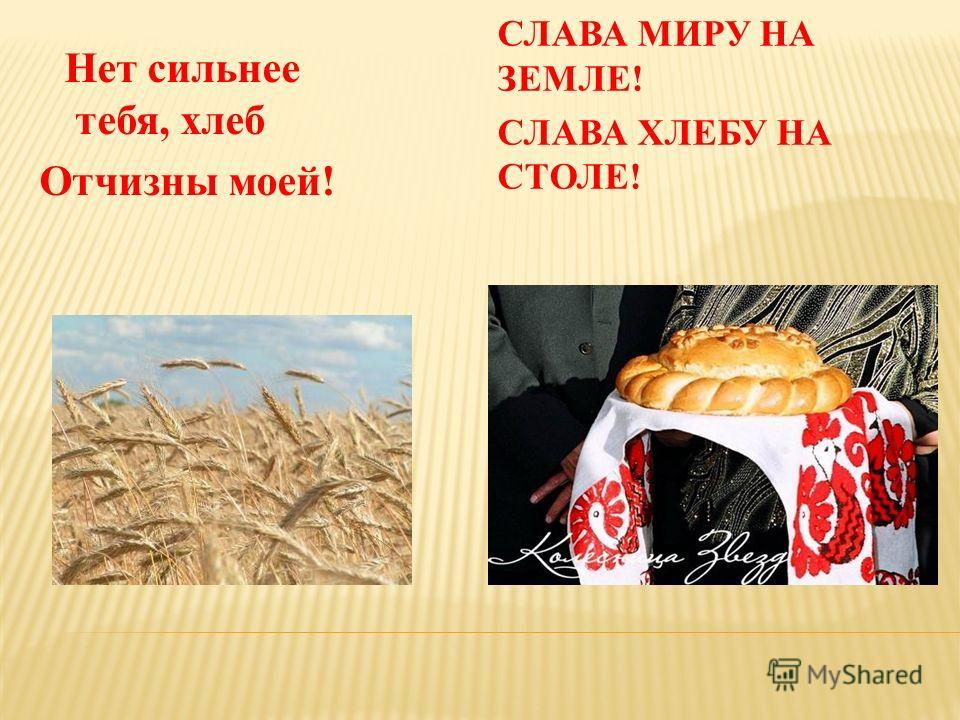 СЛАВА МИРУ НА ЗЕМЛЕ! СЛАВА ХЛЕБУ НА СТОЛЕ! Нет сильнее тебя, хлеб Отчизны моей!