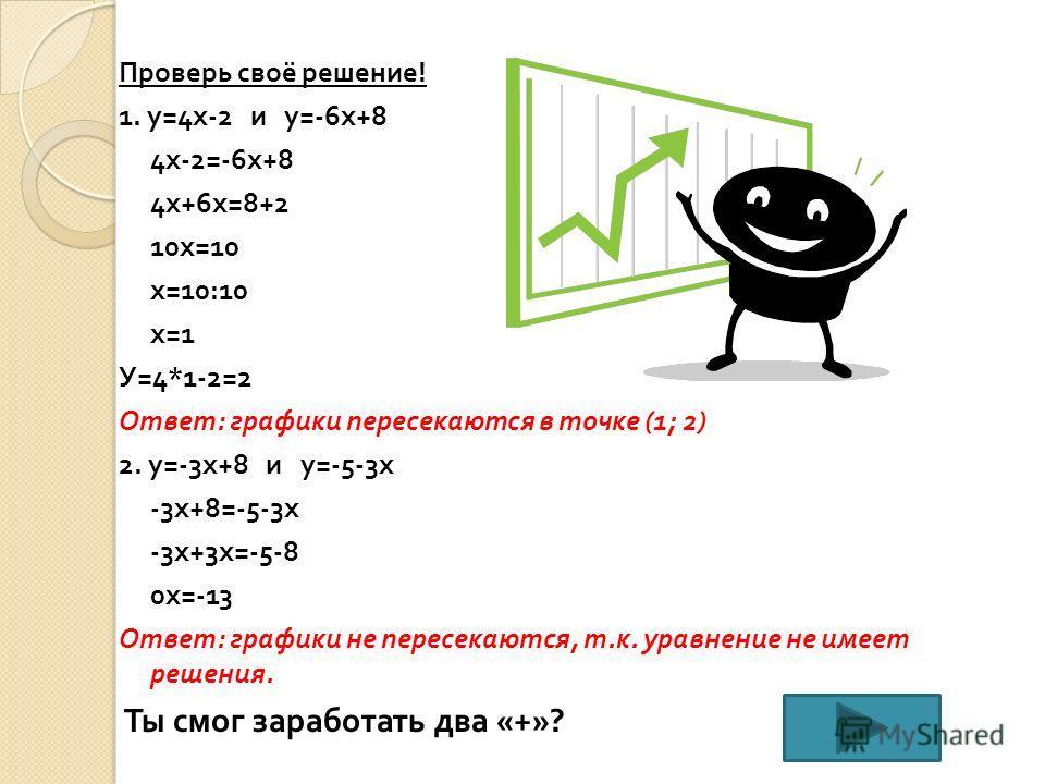 Проверь своё решение ! 1. у =4 х -2 и у =-6 х +8 4 х -2=-6 х +8 4 х +6 х =8+2 10 х =10 х =10:10 х =1 У =4*1-2=2 Ответ : графики пересекаются в точке (1; 2) 2. у =-3 х +8 и у =-5-3 х -3 х +8=-5-3 х -3 х +3 х =-5-8 0 х =-13 Ответ : графики не пересекаю