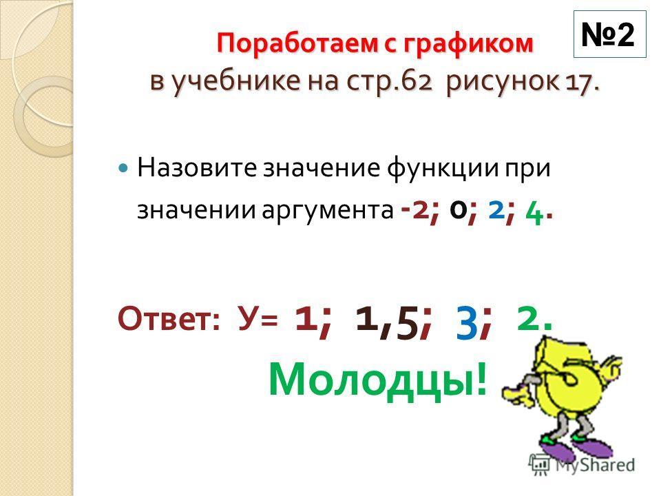 Поработаем с графиком в учебнике на стр.62 рисунок 17. Назовите значение функции при значении аргумента -2; 0; 2; 4. Ответ : У = 1; 1,5; 3; 2. Молодцы ! 2