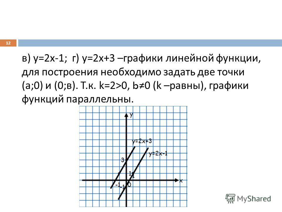 в ) у =2 х -1; г ) у =2 х +3 – графики линейной функции, для построения необходимо задать две точки ( а ;0) и (0; в ). Т. к. k=2>0, b0 (k – равны ), графики функций параллельны. 12