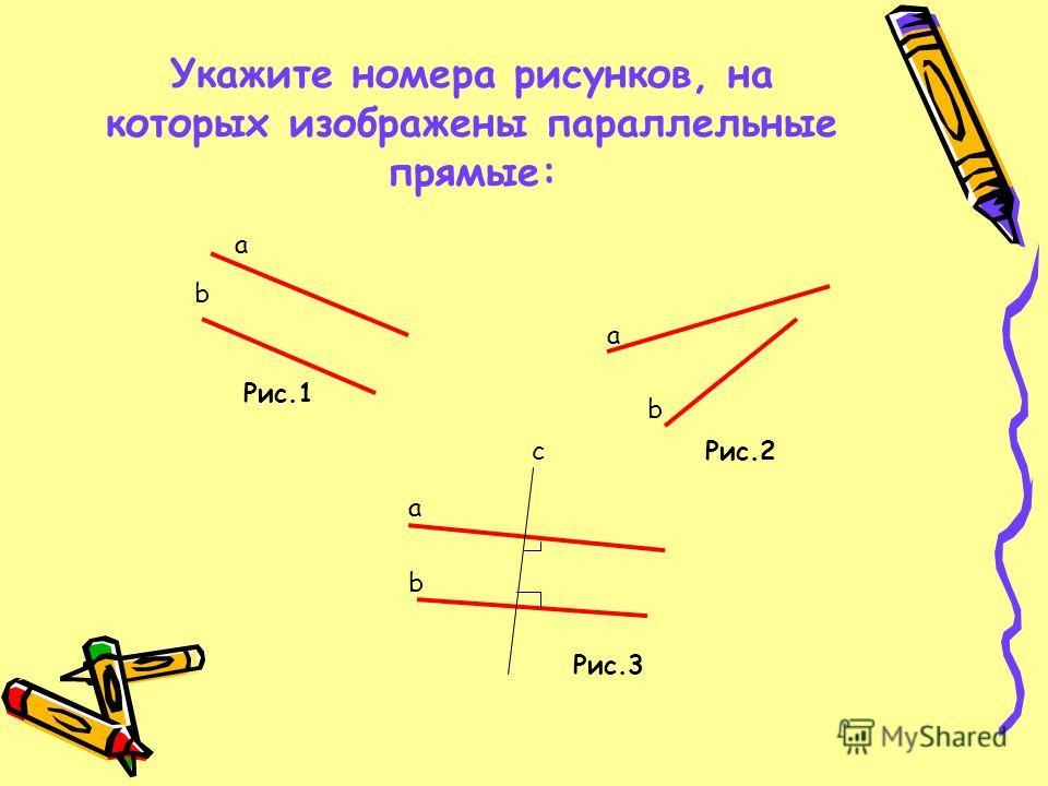 Укажите номера рисунков, на которых изображены параллельные прямые: a a a b b b c Рис.1 Рис.2 Рис.3