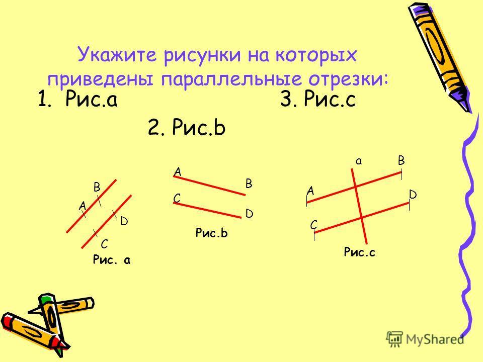 Укажите рисунки на которых приведены параллельные отрезки: 1.Рис.а 3. Рис.c 2. Рис.b A A A B B B C C C D D D a Рис. а Рис.b Рис.c