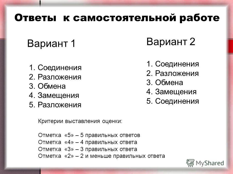 Ответы к самостоятельной работе Вариант 1 Вариант 2 1.Соединения 2.Разложения 3.Обмена 4.Замещения 5.Разложения 1.Соединения 2.Разложения 3.Обмена 4.Замещения 5.Соединения Критерии выставления оценки: Отметка «5» – 5 правильных ответов Отметка «4» –