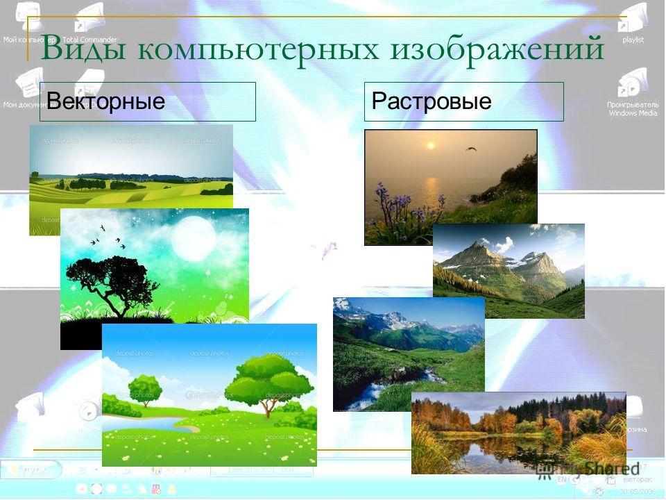 Виды компьютерных изображений Векторные Растровые