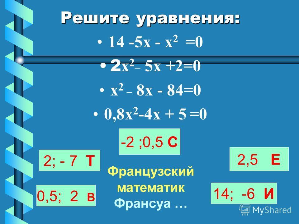 Решите уравнения: 14 -5х - х 2 =0 2 х 2_ 5х +2=0 х 2 _ 8х - 84=0 0,8х 2 -4х + 5 =0 2; - 7 Т 0,5; 2 В -2 ;0,5 С 14; -6 И Французский математик Франсуа … 2,5 Е