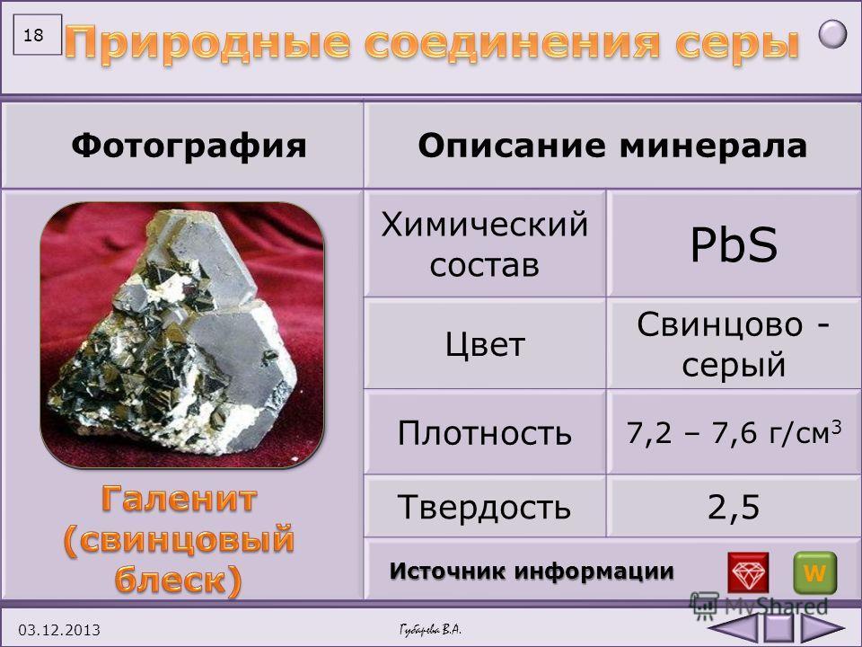 ФотографияОписание минерала Химический состав ZnS Цвет Серовато-бурый, коричневый, реже желтый, красный Плотность 3,9 – 4,2 г/см 3 Твердость3,5 – 4 03.12.2013Губарева В.А. 17 Источник информации W