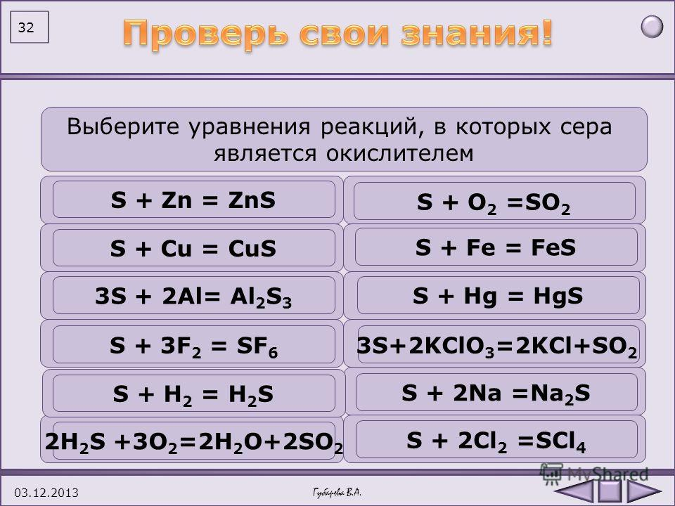 Вопрос 1 Вопрос 2 Вопрос 3 Вопрос 4 Вопрос 5 Количество энергетических уровней у атома серы. два четыреодин три А ВГ Б Для серы не характерны степени окисления 2+2+ 6 + 1+1+ 4+4+ А ВГ Б Восстановительные свойства сера проявляет в реакции с водородом