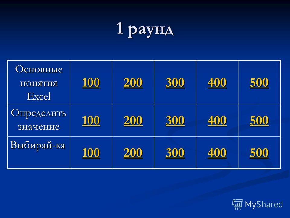 Основные понятия Excel 100 200 300 400 500 Определить значение 100 200 300 400 500 Выбирай-ка 100 200 300 400 500 1 раунд