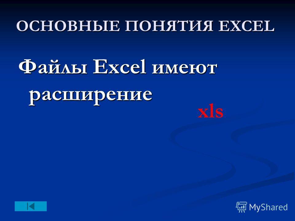 ОСНОВНЫЕ ПОНЯТИЯ EXCEL Файлы Excel имеют расширение xls