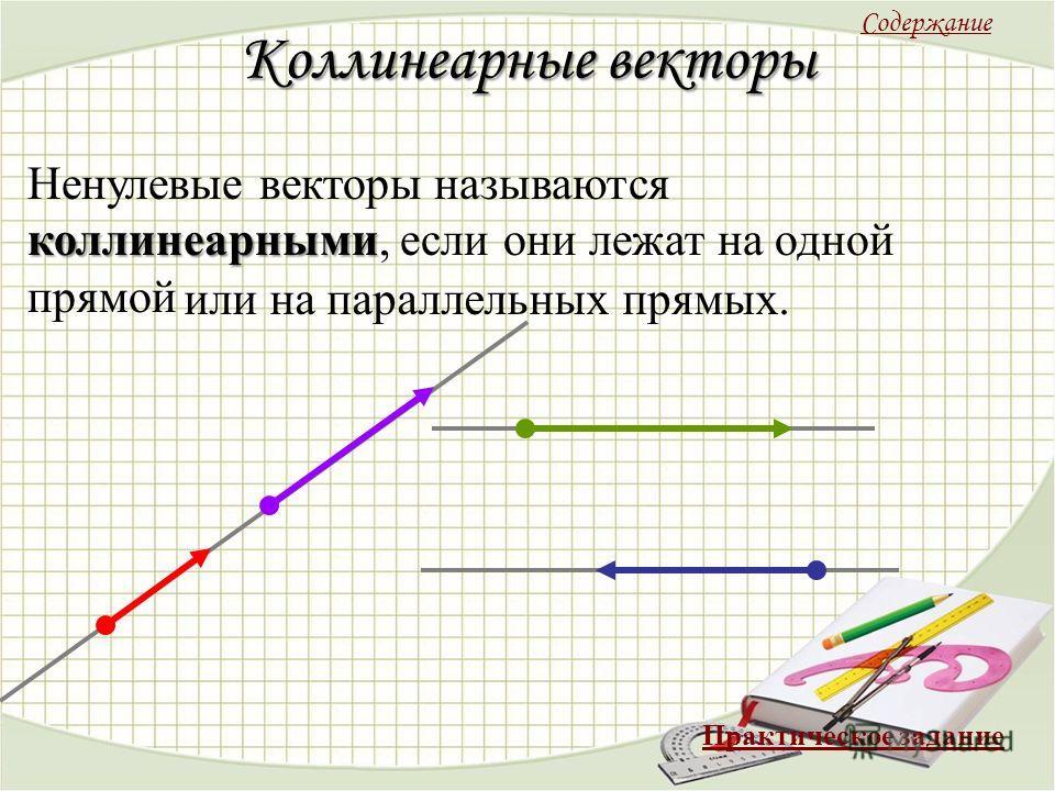 Коллинеарные векторы коллинеарными Ненулевые векторы называются коллинеарными, если они лежат на одной прямой или на параллельных прямых. Содержание Практическое задание