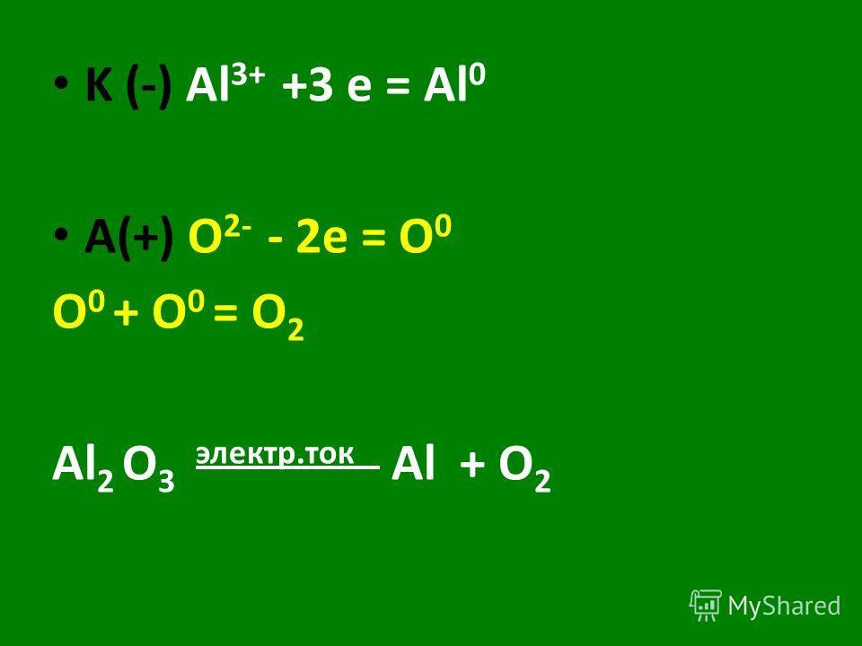K (-) Al 3+ +3 e = Al 0 A(+) O 2- - 2e = O 0 O 0 + O 0 = O 2 Al 2 O 3 электр.ток Al + O 2