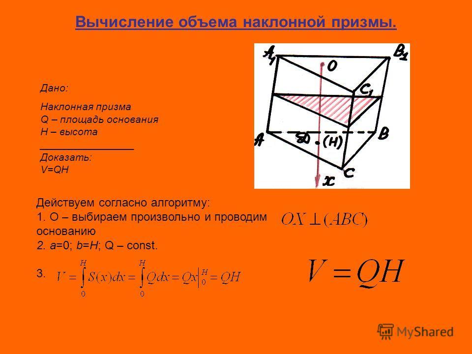 Вычисление объема наклонной призмы. Дано: Наклонная призма Q – площадь основания H – высота ________________ Доказать: V=QH Действуем согласно алгоритму: 1. О – выбираем произвольно и проводим основанию 2. a=0; b=H; Q – const. 3.