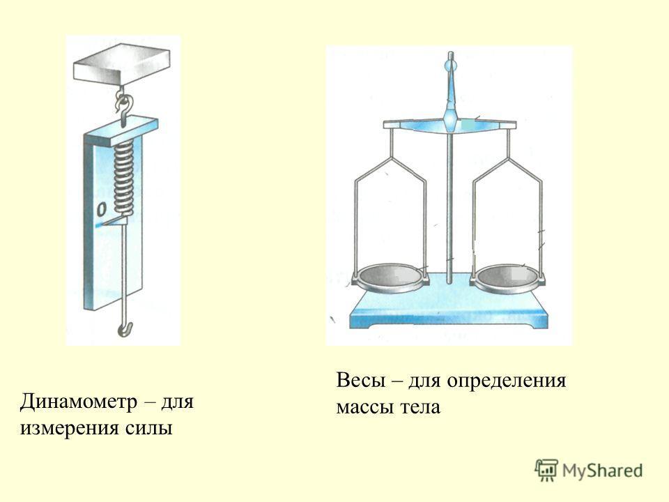 Динамометр – для измерения силы Весы – для определения массы тела