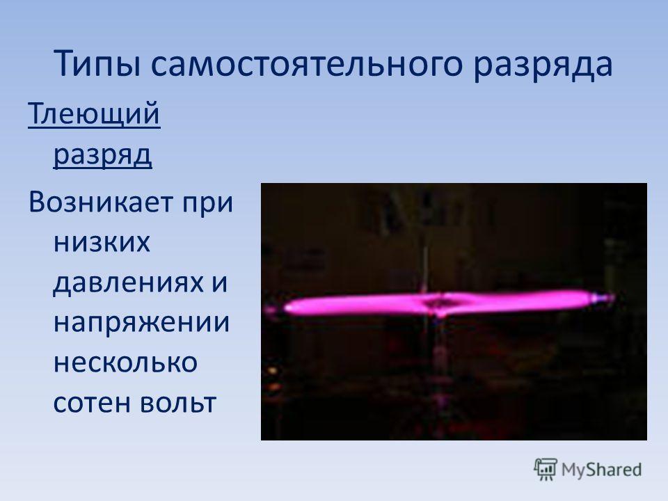 Типы самостоятельного разряда Тлеющий разряд Возникает при низких давлениях и напряжении несколько сотен вольт