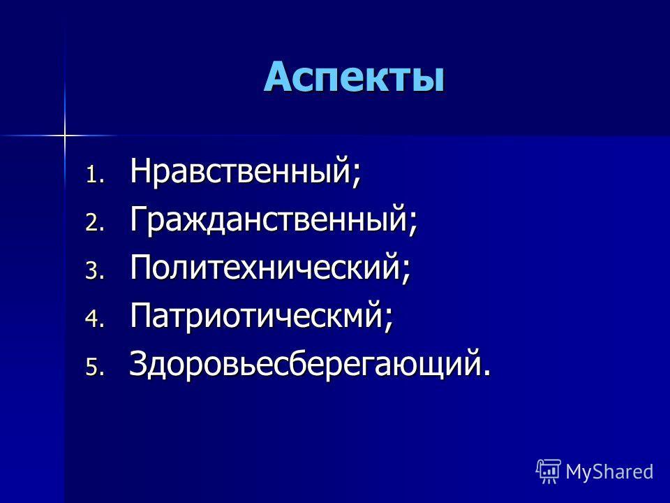 Аспекты 1. Нравственный; 2. Гражданственный; 3. Политехнический; 4. Патриотическмй; 5. Здоровьесберегающий.