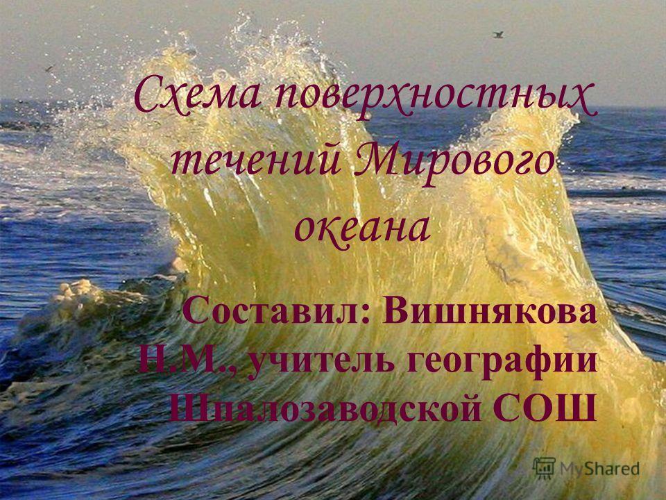 Схема поверхностных течений Мирового океана Составил: Вишнякова Н.М., учитель географии Шпалозаводской СОШ