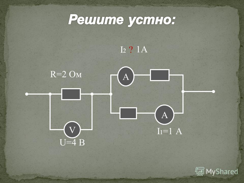 V А А R=2 Ом U=4 В I 1 =1 А I2 ?I2 ? 1А