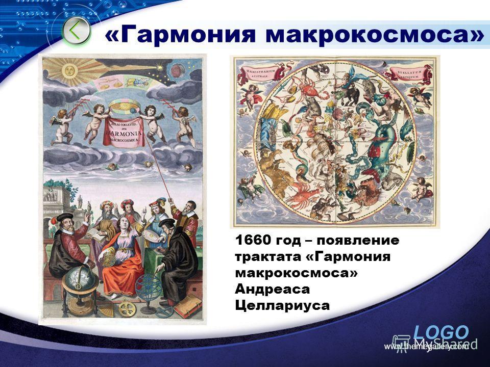 LOGO www.themegallery.com «Гармония макрокосмоса» 1660 год – появление трактата «Гармония макрокосмоса» Андреаса Целлариуса