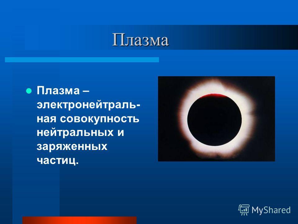 Плазма Плазма Плазма – электронейтраль- ная совокупность нейтральных и заряженных частиц.