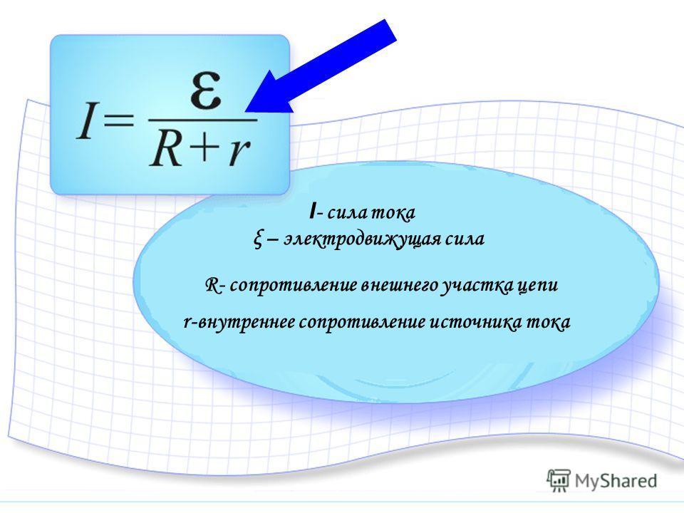 ξ – электродвижущая сила А ст – работа сторонних сил по перемещению зарядов внутри элемента от одного полюса к другому q – перемещаемый заряд
