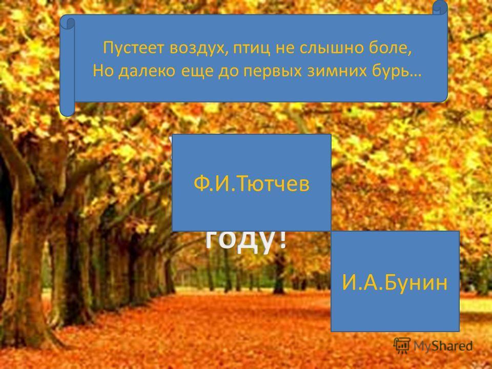 Ф.И.Тютчев М.Ю.Лермонтов И.А.Бунин Листья в поле пожелтели, И кружатся, и летят; Лишь в бору поникши ели Зелень мрачную хранят…