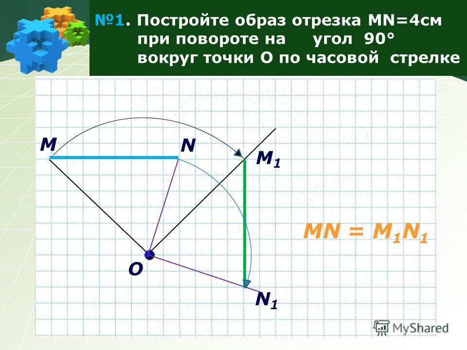 1. Постройте образ отрезка MN=4см при повороте на угол 90° вокруг точки О по часовой стрелке M N O M1M1 N1N1 MN = M 1 N 1
