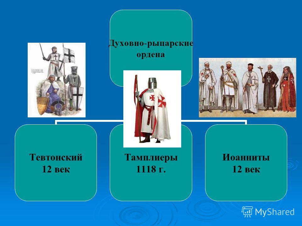 Духовно- рыцарские ордена Тевтонский 12 век Тамплиеры 1118 г. Иоанниты 12 век