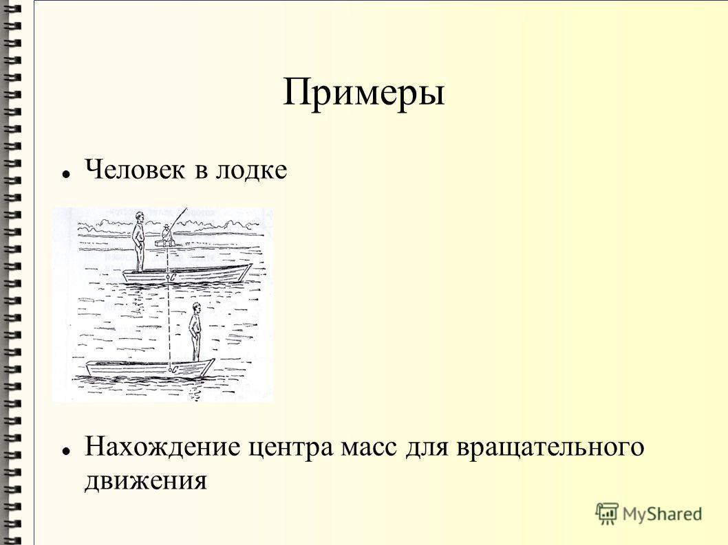 Примеры Человек в лодке Нахождение центра масс для вращательного движения