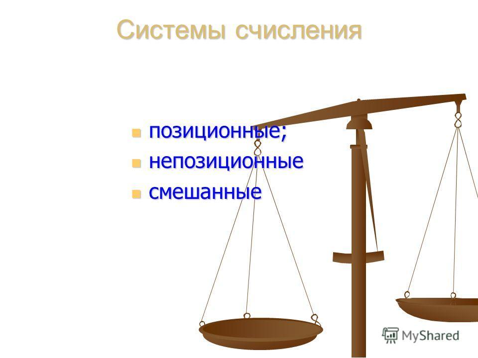 Системы счисления позиционные; позиционные; непозиционные непозиционные смешанные смешанные
