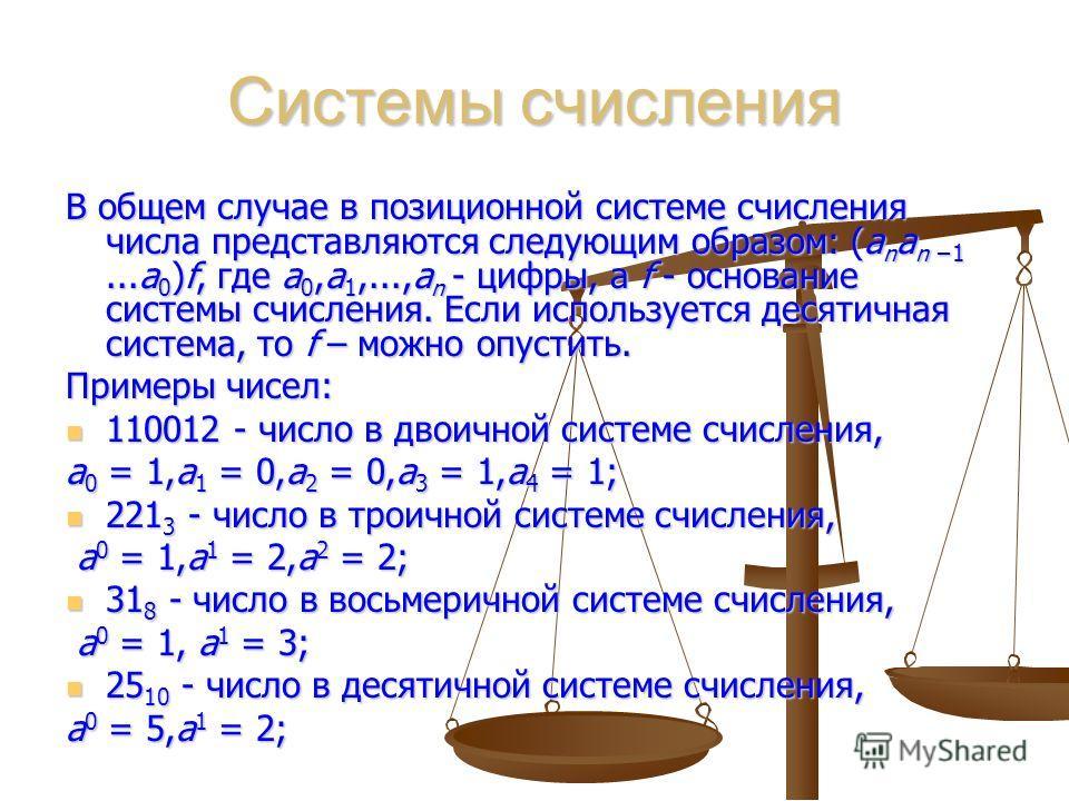 Системы счисления В общем случае в позиционной системе счисления числа представляются следующим образом: (a n a n 1...a 0 )f, где a 0,a 1,...,a n - цифры, а f - основание системы счисления. Если используется десятичная система, то f – можно опустить.