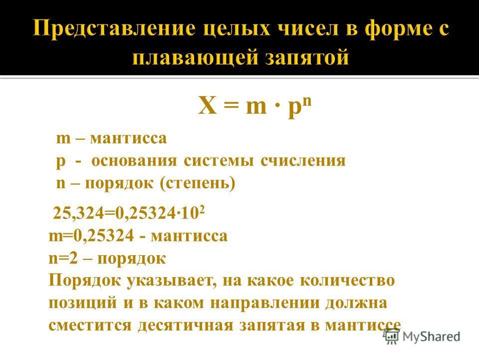 X = m · p n m – мантисса p - основания системы счисления n – порядок (степень) 25,324=0,25324·10 2 m=0,25324 - мантисса n=2 – порядок Порядок указывает, на какое количество позиций и в каком направлении должна сместится десятичная запятая в мантиссе