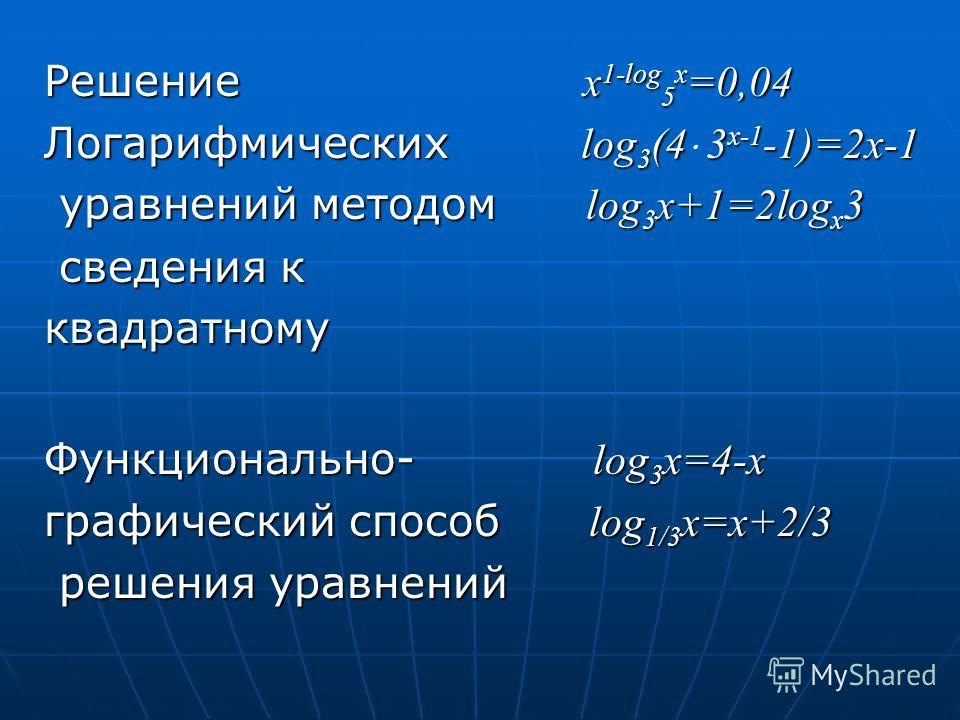 Решение x 1-log 5 x =0,04 Логарифмических log 3 (43 x-1 -1)=2x-1 Логарифмических log 3 (4 3 x-1 -1)=2x-1 уравнений методом log 3 x+1=2log x 3 уравнений методом log 3 x+1=2log x 3 сведения к сведения кквадратному Функционально- log 3 x=4-x графический