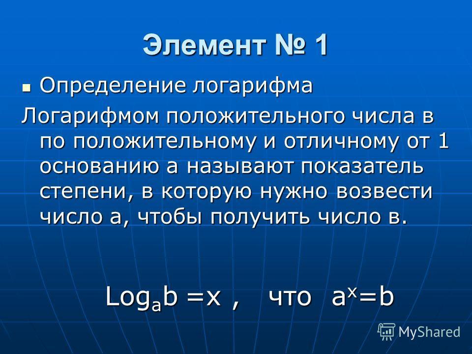 Элемент 1 Определение логарифма Определение логарифма Логарифмом положительного числа в по положительному и отличному от 1 основанию а называют показатель степени, в которую нужно возвести число а, чтобы получить число в. Log a b =x, что a x =b Log a