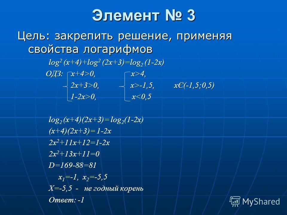 Элемент 3 Цель: закрепить решение, применяя свойства логарифмов log 2 (x+4)+log 2 (2x+3)=log 2 (1-2x) OДЗ: x+4>0, x>4, 2x+3>0, x>-1,5, xЄ(-1,5;0,5) 2x+3>0, x>-1,5, xЄ(-1,5;0,5) 1-2x>0, x 0, x