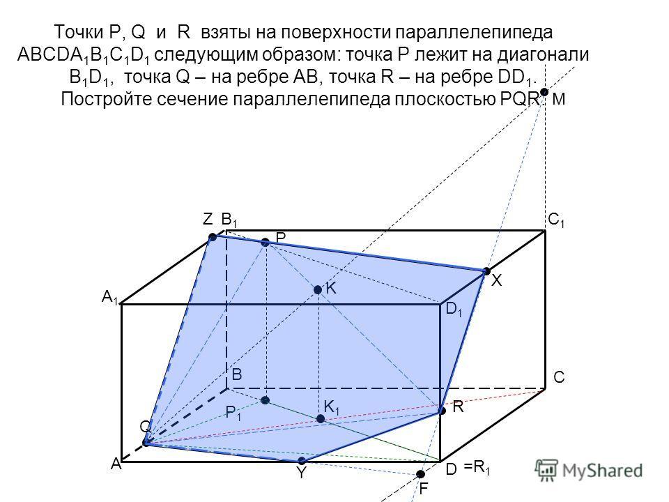 Точки P, Q и R взяты на поверхности параллелепипеда АВСDA 1 B 1 C 1 D 1 следующим образом: точка Р лежит на диагонали B 1 D 1, точка Q – на ребре АВ, точка R – на ребре DD 1. Постройте сечение параллелепипеда плоскостью PQR. A B C D A1A1 B1B1 C1C1 D1