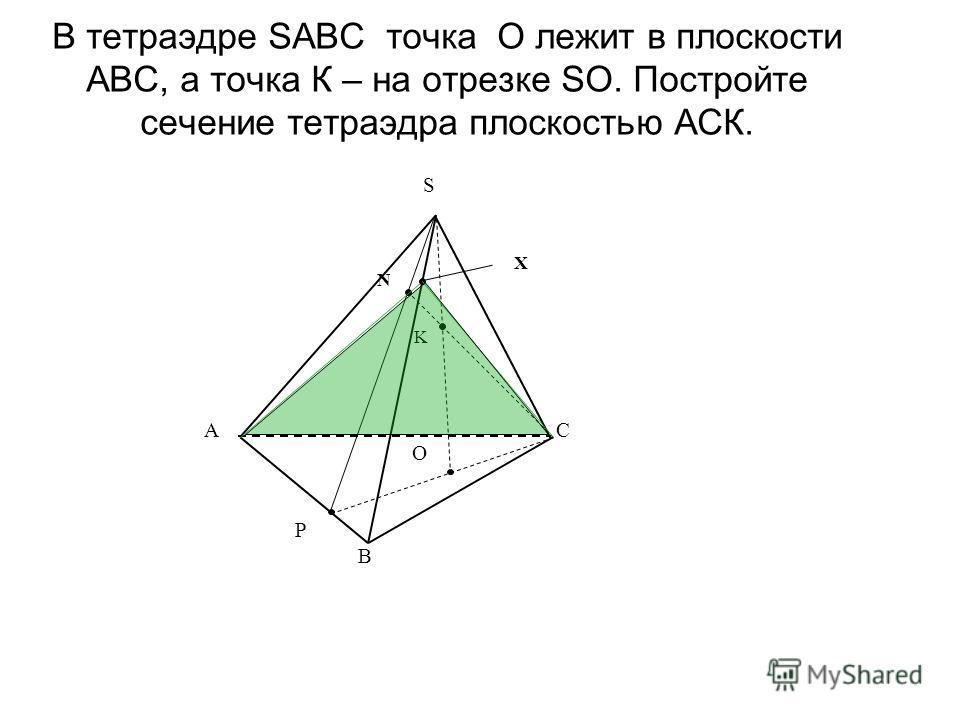 В тетраэдре SABC точка О лежит в плоскости АВС, а точка К – на отрезке SO. Постройте сечение тетраэдра плоскостью АСК. A B C S P K O N X