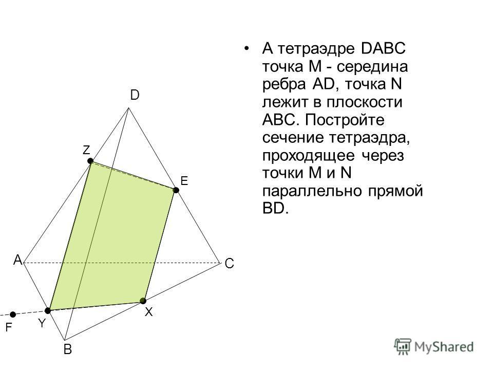 А тетраэдре DABC точка М - середина ребра AD, точка N лежит в плоскости АВС. Постройте сечение тетраэдра, проходящее через точки М и N параллельно прямой BD. А В С D F E X Y Z