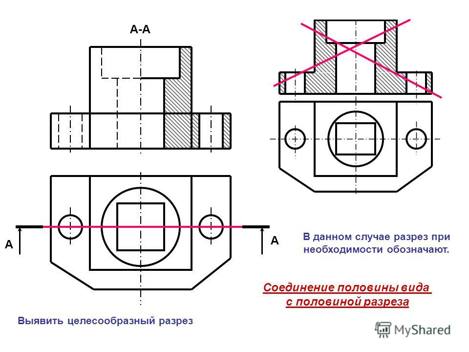 А А А-А Соединение половины вида с половиной разреза В данном случае разрез при необходимости обозначают. Выявить целесообразный разрез