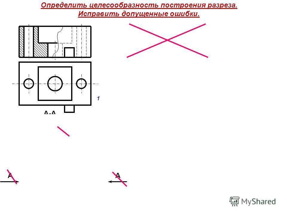 Определить целесообразность построения разреза. Исправить допущенные ошибки. АА А-А 1 2 АА
