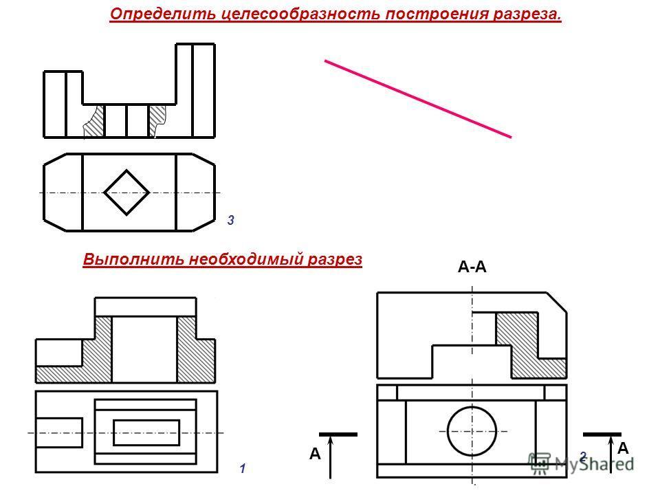 Определить целесообразность построения разреза. Выполнить необходимый разрез А А А-А 3 1 2
