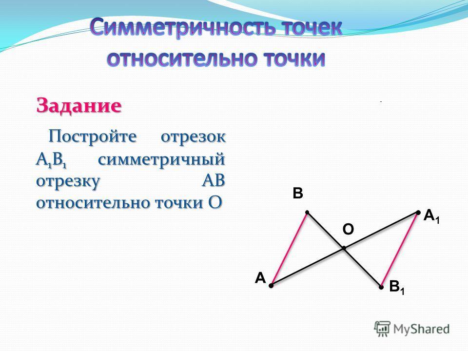 Задание Постройте отрезок A 1 B 1 симметричный отрезку AB относительно точки О Постройте отрезок A 1 B 1 симметричный отрезку AB относительно точки О A B B1B1 O A1A1