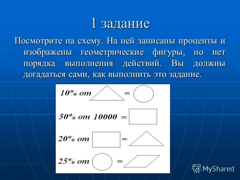 Посмотрите на схему. На ней записаны проценты и изображены геометрические фигуры, но нет порядка выполнения действий. Вы должны догадаться сами, как выполнить это задание.