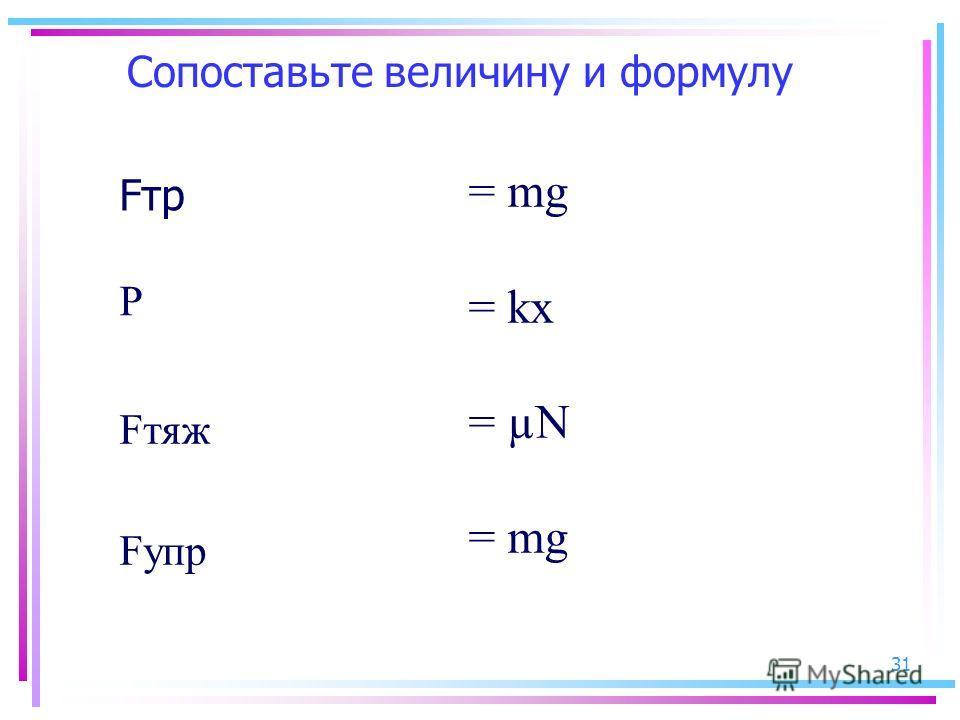 31 Сопоставьте величину и формулу Fтр = mg = kx = µN = mg Fупр Fтяж Р