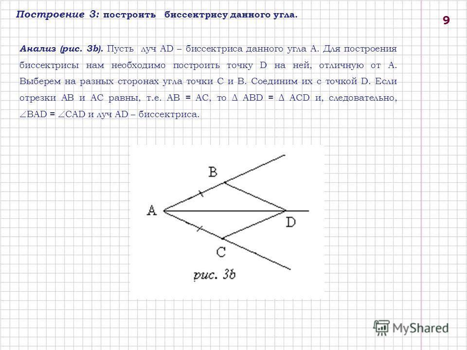Построение 3: построить биссектрису данного угла. Анализ (рис. 3b). Пусть луч AD – биссектриса данного угла A. Для построения биссектрисы нам необходимо построить точку D на ней, отличную от A. Выберем на разных сторонах угла точки C и B. Соединим их