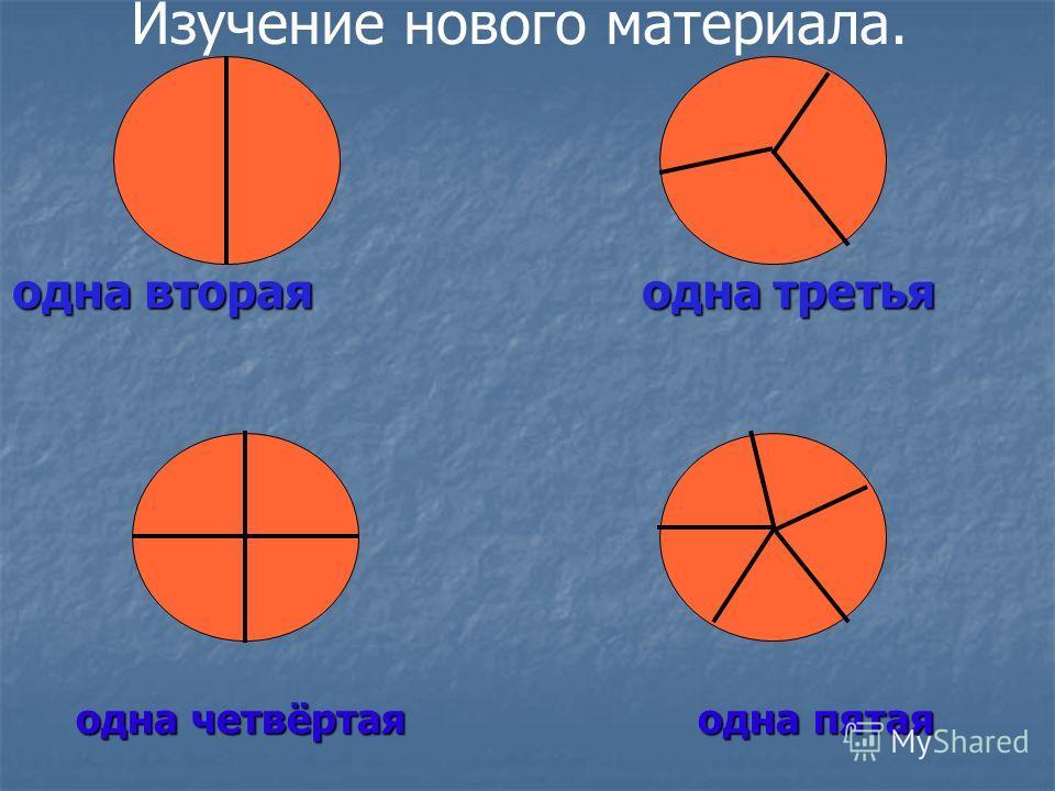 одна четвёртая одна пятая одна вторая одна третья Изучение нового материала.