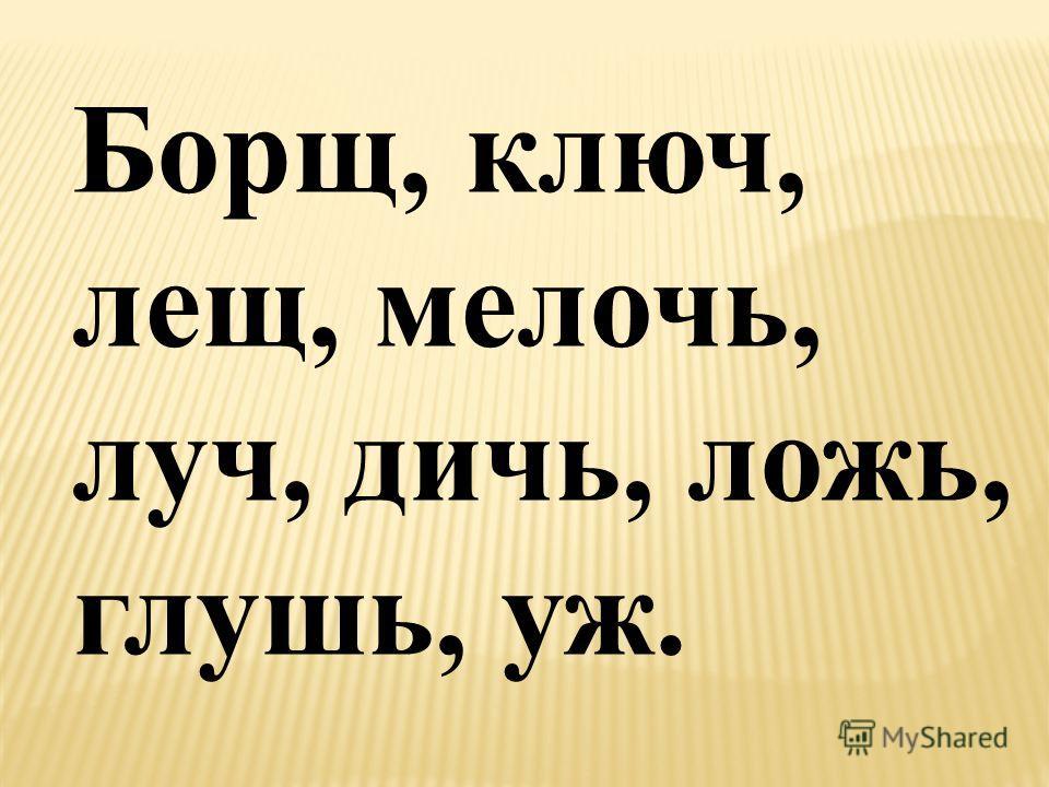 Борщ, ключ, лещ, мелочь, луч, дичь, ложь, глушь, уж.