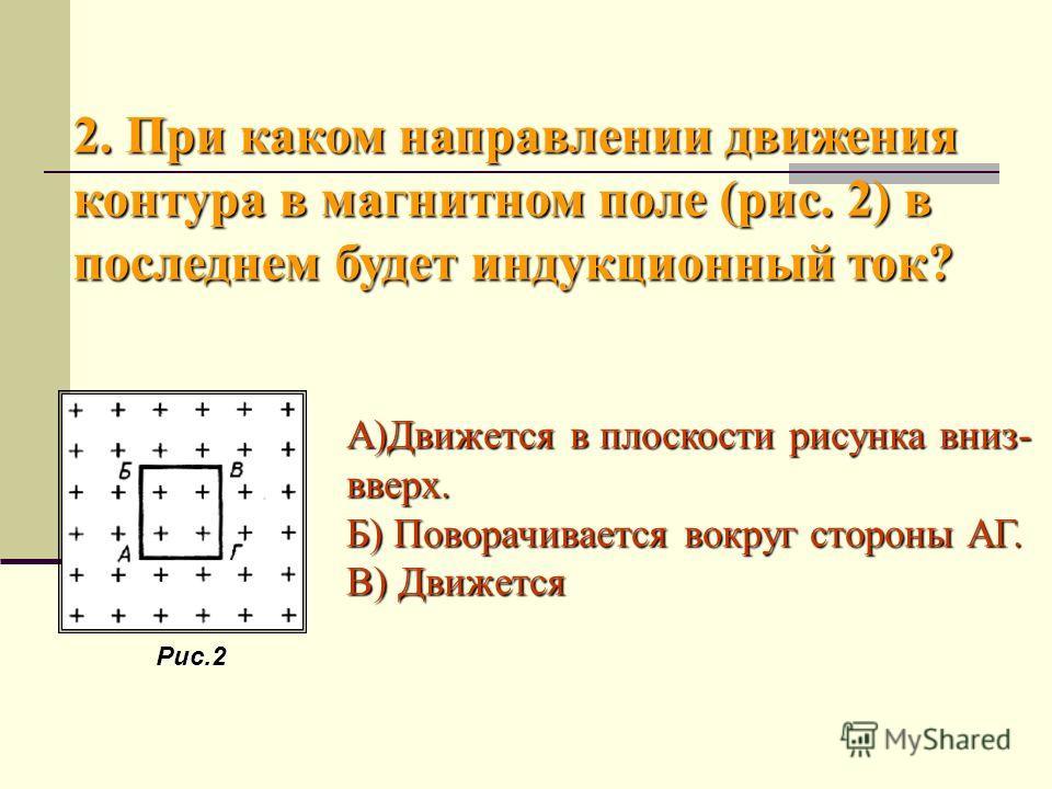 А)Движется в плоскости рисунка вниз- вверх. Б) Поворачивается вокруг стороны АГ. В) Движется 2. При каком направлении движения контура в магнитном поле (рис. 2) в последнем будет индукционный ток? Рис.2